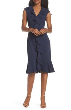 3d562958514 Maggy London Crepe Ruffle Front Sheath Dress
