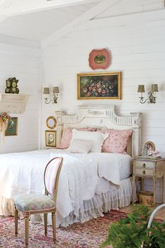Anticipate the whims and wishes of summer guests with a gracious lakeside cottage filled with thoughtful amenities. Guests will appreciate a bedside carafe of fresh spring water for sipping. For more entertaining tips, visit . Romantic Cottage, French Cottage, Lakeside Cottage, Romantic Homes, French Country, Shabby Chic Bedrooms, Shabby Chic Decor, Cottage Bedrooms, Victoria Magazine