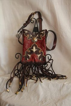 SOLD Dark Red and Brown Cowboy Boot Purse covered in by GriffinsCloset, $140.00