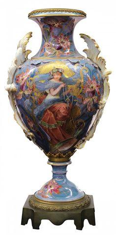 Sevres Art Nouveau Polychrome Decorated Porcelain Urn.