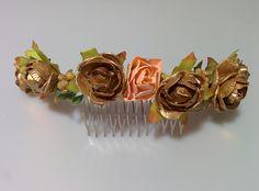 Modelo  Eugenia (1 disponible)  #lamoradadenoa #totalgold #dorado #rosas #invitada #boda #pasador #flores