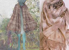 Shibori organic cotton scarf shawl natural dye eucalyptus by dyeing2meetU, €45.00