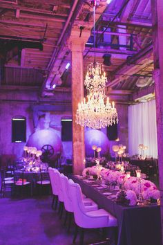 Purple lighting // Glam wedding decor // Avangard Photography