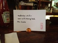 """#haiku 20120904 """"september chill -- / soon we'll change back / the clocks"""""""
