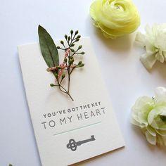 Key To My Heart Card by Brown Parcel Press #valentine #card #letterpress #handmade #print #love #wedding #engagement