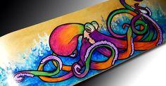 Octopus Art   Skateboard Decor   Surf   Bright Wall Art   Octopus Art   Beach Decor   Surf Decor   Octopus Painting   Squid   Sea Creature