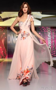 Pink One Shoulder Flower Pattern Pleats Long Evening Dress