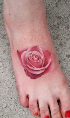 Realistic color rose tattoo Jeff Norton. Atascadero, CA www.jeffnortontattoo.com