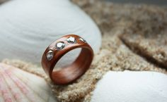 Wooden Ring - American Walnut & Pink Freshwater Pearl by HandmadeWoodenRings on Etsy American Walnut, Wooden Rings, Fresh Water, Fashion Jewelry, Wedding Rings, Engagement Rings, Pearls, Unique Jewelry, Handmade Gifts