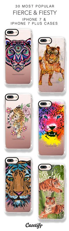 30 Most Popular Fierce & Fiesty Protective iPhone 7 Cases and iPhone 7 Plus Cases. More Tiger Animal iPhone case here > https://www.casetify.com/collections/top_100_designs#/?vc=FO98LcTUP1