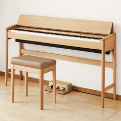 Equal parts luxuriant oak furniture and technically-advanced musical keyboard, the Roland Kiyola Piano is a MoMA Design Store exclusive. Handcrafted in Japan by furniture-maker Karimoku, the minimalist instrument features unique grain patterns, with. Piano Table, Piano Desk, The Piano, Piano Bench, Keyboard Piano, Minimalist Kitchen, Minimalist Interior, Minimalist Bedroom, Minimalist Decor