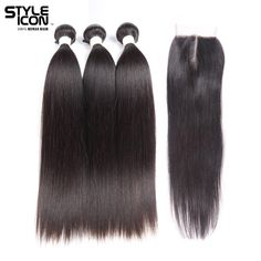 Styleicon Pre-colored 3 Bundles With Closure Remy Brazilian Straight Hair Weave Bundles Extensions Bundles With Closure