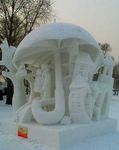 awesome snow art 17 Epic snow sculptures in time for the holidays Photos) I Love Winter, Winter Fun, Winter Snow, Snow Scenes, Winter Scenes, Snow Sculptures, Sculpture Art, Ice Art, Umbrella Art