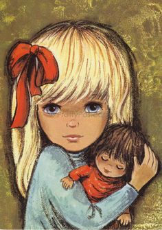Vintage postcard of a beautiful Girl with Blond por PrettyPostcards