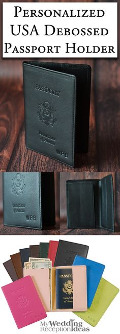 The perfect gift for any man or women who travels for business, vacations, or your destination wedding outside of the United States, this top grain Nappa leather passport holder is beautifully blind stamped with the United States seal, 'United States of America' title and 3 custom initials. Featuring two inside pockets for holding passport, flight documents and currency, this passport holder can be ordered at http://myweddingreceptionideas.com/usa_embossed_nappa_leather_passport_holders.asp