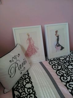 Paris themed bedroom finishing touches - vintage babrie framed prints for my barbie collector