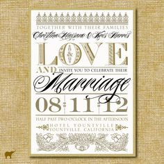 Vintage Gold Love and Marriage Wedding Invitation by AmareDesign, $6.00