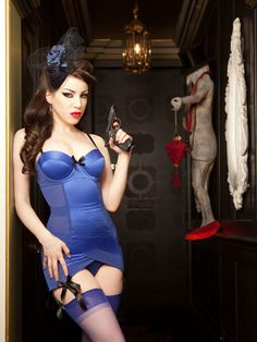 KISS ME DEADLY Blue Divine Corselette   Hepburn and Leigh