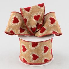 """2.5"""" Faux Burlap Flocked Heart Ribbon. Perfect for Valentine's Day!"""