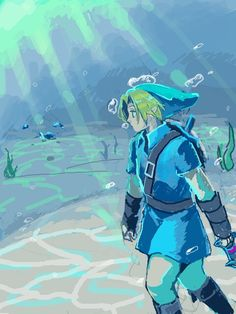 Link in the blue Zora tunic, iron boots, underwater - The Legend of Zelda: Ocarina of Time; fan art