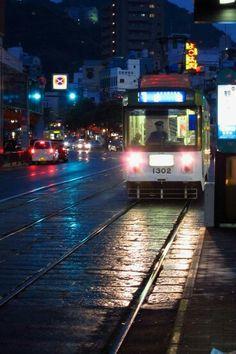 Night tram in Nagasaki, Japan