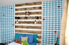 Nellie Bellie, boy room with pallet headboard, stenciled wall, and curtains that your kid can help make! Boys Bedroom Curtains, Comfy Bedroom, Home Decor Bedroom, Diy Home Decor, Bedroom Ideas, Bedrooms, Boy Room, Kids Room, Rustic Industrial
