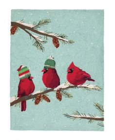Christmas Red Birds Hooked Rugs  - Scott Church - Peking Handicraft