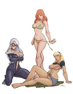 The Very Best of Women in Comics — The Black Cat, Mary-Jane and Gwen Stacy. Anime Comics, Bd Comics, Comics Girls, Comic Book Girl, Comic Books Art, Comic Art, Marvel Girls, Ms Marvel, Girl Cartoon