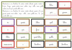 cartellini scatola grammaticale VI MONTESSORI pronomi