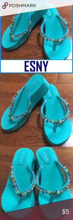 412ec6802 Spotted while shopping on Poshmark  ESNY Women s Aqua Beaded Flip Flops  Size 7US!