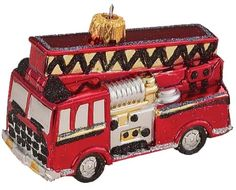 6299.1 SHATTERPROOF FIRE ENGINE ORNAMENT pl0265 ChicagoFireAndCopShop.com Chicago Fire Department and Chicago Police Department gifts.