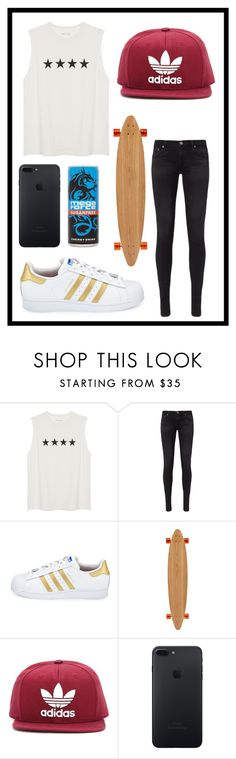 """#526 skater girl"" by xjet1998x ❤ liked on Polyvore featuring AG Adriano Goldschmied, adidas, Long Days Longboards and adidas Originals"