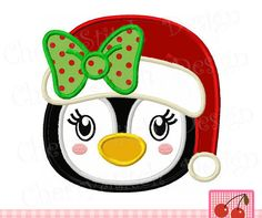 Girl Penguin with Santa hat, Christmas penguin, penguin girl CH0095 -approximate 4x4 5x5 6x6 inch -Machine Embroidery Applique Design by CherryStitchDesign on Etsy