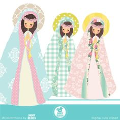 Cute Virgen Maria cliparts COMMERCIAL USE OK
