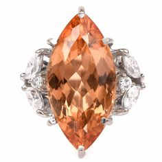 Imperial Topaz Diamond Gold Cocktail Ring at 1stdibs