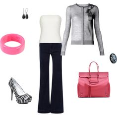 A fashion look from October 2011 featuring knit cardigan, balconette bra and wide leg jeans. Browse and shop related looks. Zebra Shoes, Kelly Fashion, Wide Leg Jeans, Pants Outfit, Zebra Print, Fashion Looks, Fashion Tips, Knit Cardigan, Fashion Forward