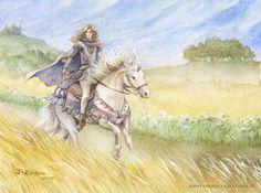 Glorfindel by Gold Seven/Jenny Dolfen. O Silmarillion, Glorfindel, Lotr, Character Sketches, Jrr Tolkien, Medieval Fantasy, Middle Earth, The Hobbit, Fantasy Art