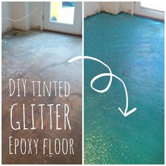 Projects to Try DIY Turquoise Glitter Epoxy Floor Epoxy Floor Diy, Diy Epoxy, Basement Flooring, Diy Flooring, Basement Bathroom, Flooring Ideas, Paint Bathroom, Basement Furniture, Kitchen Flooring