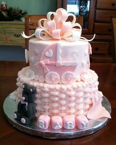 This is a cake I made for my daughter's baby shower. Love the pram..don't like the black thing.....
