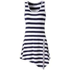 Zattcas Womens Striped Sleeveless Tunic Tank Top Loose T-shirt Dress... ($52) ❤ liked on Polyvore featuring tops, loose fit tops, loose tops, stripe top, loose sleeveless tops and sleeveless tops