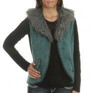 Montana Co. Women's Faux Fur Studded Teal Vest