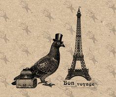 Bon Voyage French Paris Travel Pigeon Trunks Instant Download Digital printable clipart graphic - scrapbooking,decoupage,kraft, etc HQ300dpi by UnoPrint on Etsy