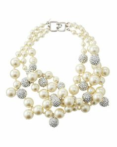 Y1T30 Kenneth Jay Lane Pave Crystal Pearly Beaded Cluster Necklace