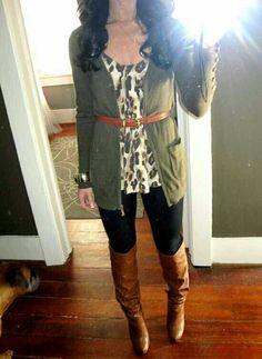 .boots jeans/leggings shirt belt cardigan
