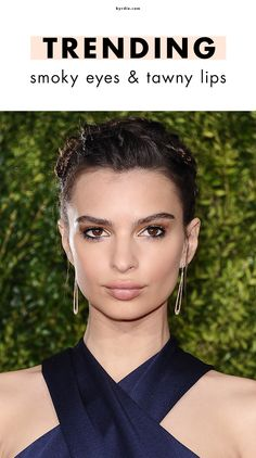 6 celebs who are making smoky eyes and nude lips the must-try makeup trend of the season
