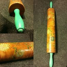 ANTIQUE 1930's Birdseye Maple Wood Rolling Pin Green Handles Primitive Folk Art