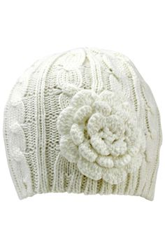 Thick Cable Knit Beanie Cap Hat With Rosette