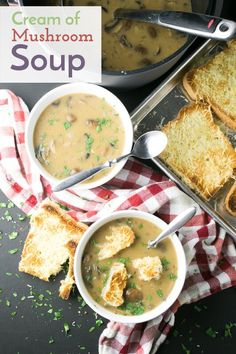 With mushrooms, rice, and a little bit of sherry and milk, this homemade cream of mushroom soup is easy and comforting. Swiss-Parmesan toast completes the meal! | Recipe from Chattavore.com