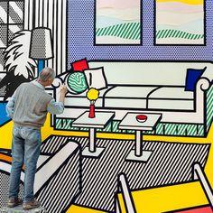 Roy Lichtenstein at work.