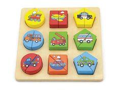 Houten puzzel met diverse voertuigen, kleuren en vormen. Deze eenvoudige houten puzzel is perfect geschikt om mee te beginnen. De één leert nu eenmaal sneller als de ander. Bij deze puzzel kan de oplossing gevonden worden door het combineren van de voertu